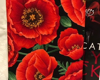 Poppy Flower Book Sleeve Book Cover for Hardcover and Paperback Book Lover Gift Notebooks and Pens Not Included