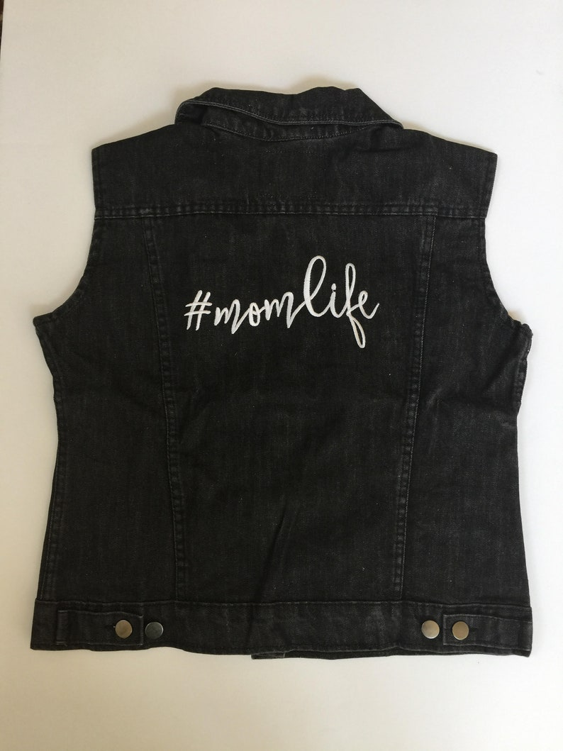 Momlife Embroidered Distressed Jeans Vest Rocks any Outfit #momlife white embroidery Grey Washed out Jeans Vest