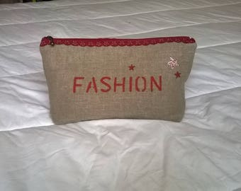Pouch bag, clutch linen clutch with stencil, woman accessory