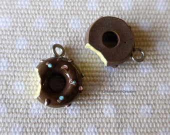 Chocolate Donut doughnut chewed gourmet charm resin 13mm