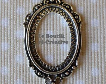 1 x medium baroque silver cameo 25x18mm cabochon