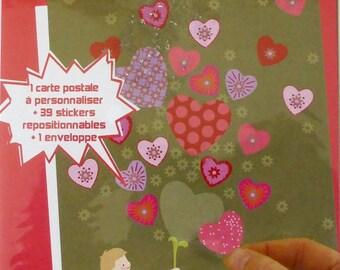 """Carte postale à customiser """"Pour toi"""" avec stickers Coeurs & enveloppe..."""