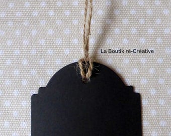 2 x tags slate black Tags with string number 7cm 2