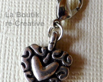 Lot 2 silver x charm's heart metal charm pendants