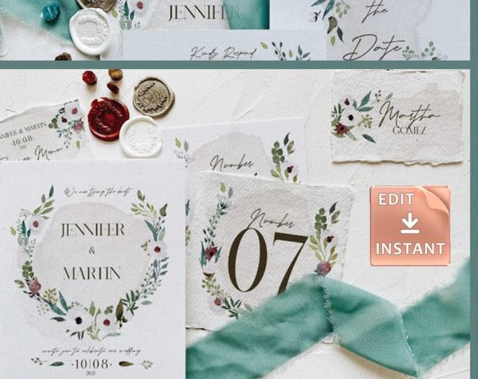 Winter Green Foliage Wedding Collection - DIY Wedding Invitation Collection - Instant Download - Winter Wedding - Rustic Wedding