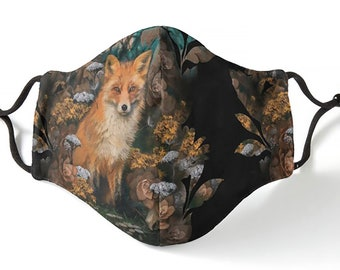 Fitted Mask, 3 layer, adjustable, with The Fox in the Moonlight Forest