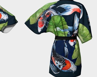 Koi Fish Kimono Robe - dressing gown - bathing suit coverups