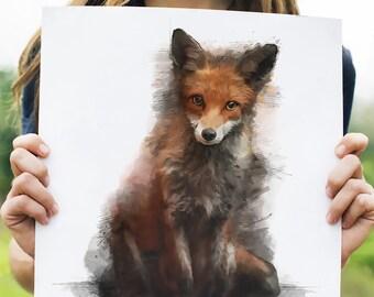 Mixed Media Watercolor Fox, print, art, wall art, nature painting