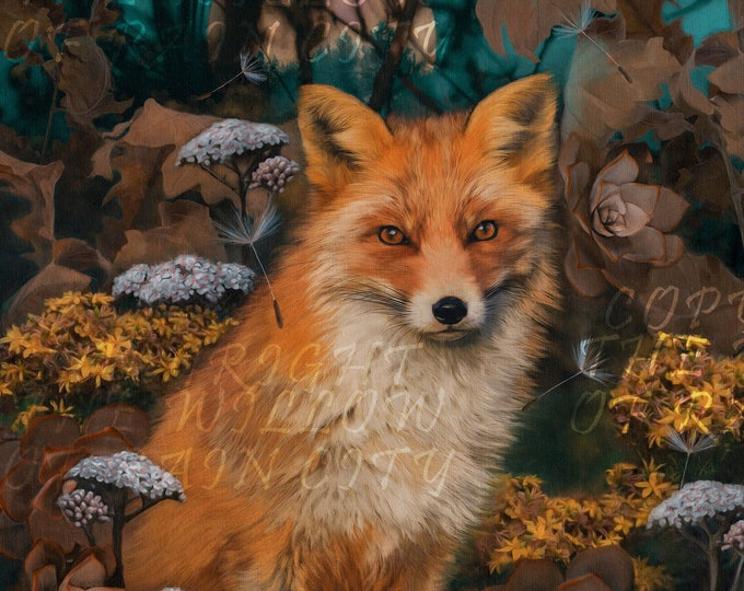 Fox in the forest Canvas Art Print