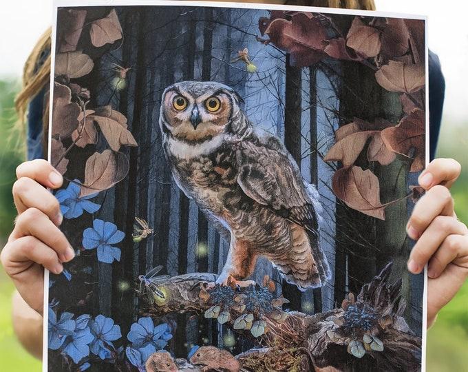 The Owl Art Print, Wall Hanging, Spirit Animals, Watercolor Paper, Canvas Print, Poster Print