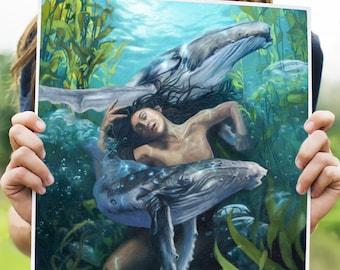 Amphitrite art print,  a goddess to calm the stormy seas, canvas print, poster print, original art, whales, whale painting, figurative art