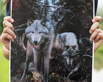 Wolf Art Print, watercolor paper, canvas print, poster print, wall art, original art, timber wolves, spirit animal