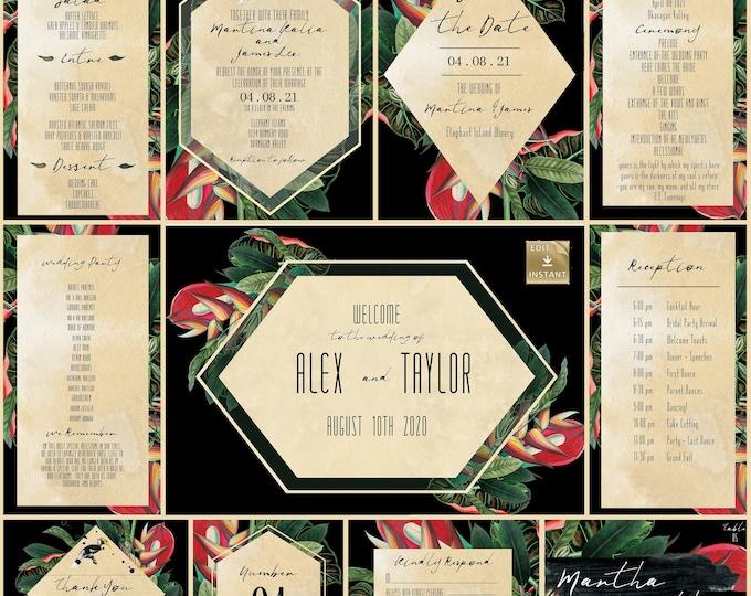 Wedding Invitation Collection - Tropical Black And gold - DIY Wedding Invitation  - Instant Download - Destination Wedding Template