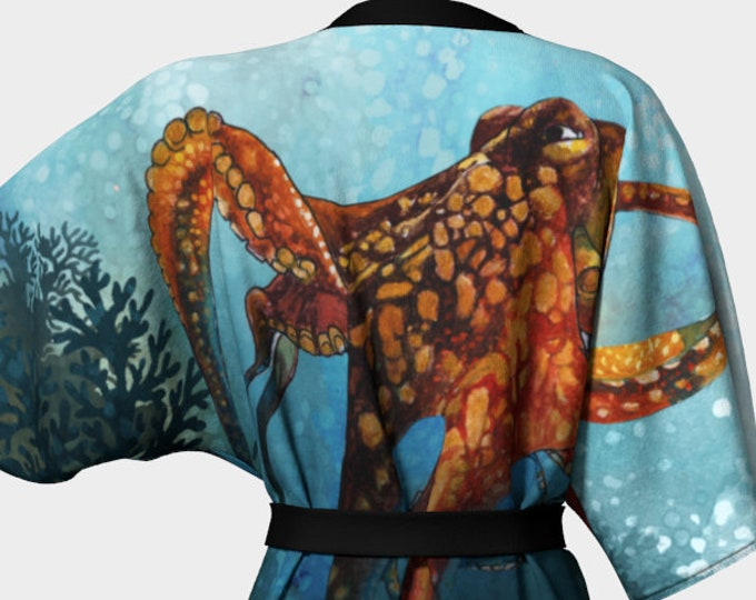 Octopus In the Coral kimono - dressing gown - bathing suit coverups