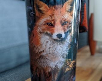 Travel mugs / coffee / Travel Mug / whimsical  / Owl / Nature / Fox / Rabbit / Gothic / Night / Moon / Spirit Animal / Fairy / fantasy art