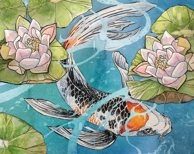Colourful Koi watercolor painting print by Andrea Fryett, art, animal, illustration, home decor, Nursery, gift, Wildlife, wall art