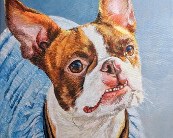 Pet Portrait hand painted in Acrylic or Oil  from Photo, Pet Portrait Custom, personalized gifts
