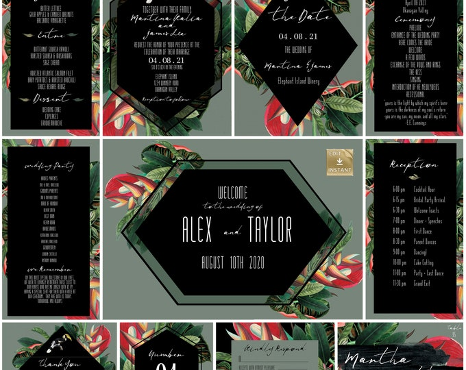 Wedding Invitation Collection - Tropical Black And Grey - DIY Wedding Invitation  - Instant Download - Destination Wedding Template
