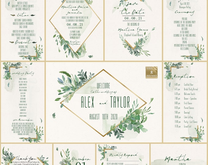 Wedding Invitation Collection - Gold And Greenery - DIY Wedding Invitation  - Instant Download - Spring Wedding - Wedding Template