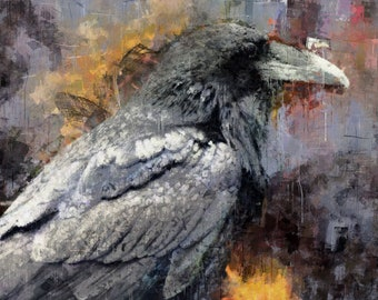 Raven, Canvas Print, Large Wall Art, Painting, Bird, Wild life, nature, palette knife, modern, minimal, dark