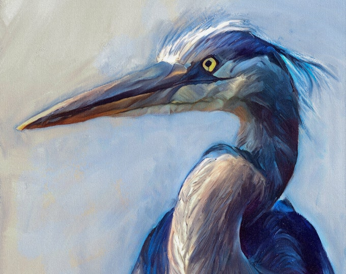 The Great Blue Heron, Canvas Print, Large Wall Art, Painting, Bird, Wild life, nature, nautical, waterfowl, modern, minimal, blue, white