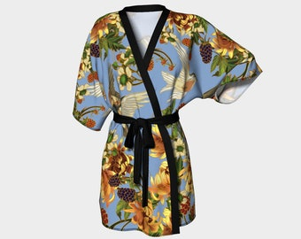 kimono - Swallows and Raspberries in Blue - bathing suit coverups - dressing gown - bridal party robes - art nouveau inspired - spring