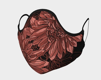 Pink and Black Chrysanthemum Fitted Mask with filter pocket and optional meltblown and carbon filters