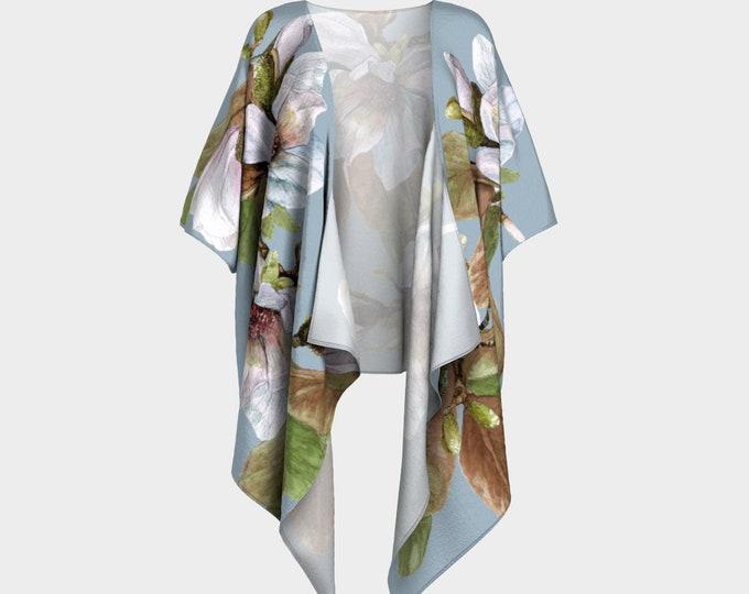 Draped Kimono - Vancouver Magnolia Flower - bathing suit cover