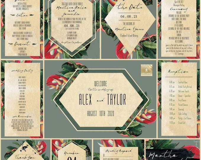 Wedding Invitation Collection - Tropical Grey and Gold - DIY Wedding Invitation  - Instant Download - Destination Wedding Template