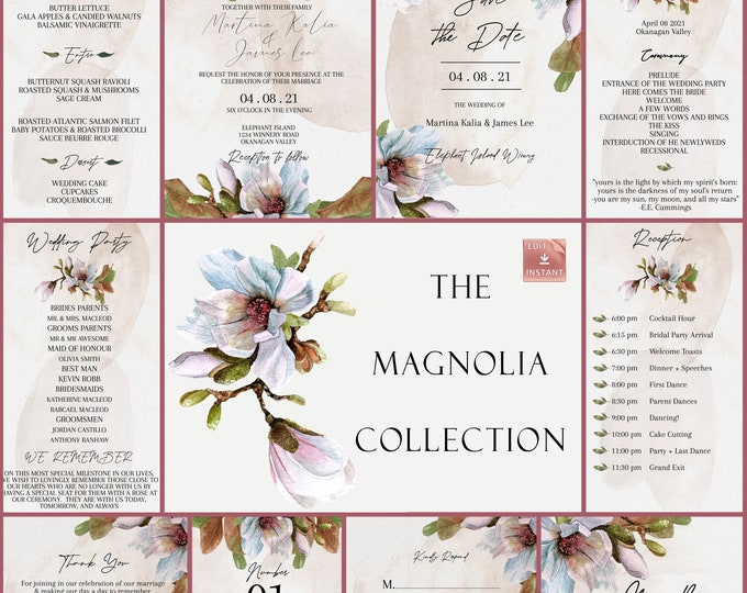 Magnolia Wedding Collection - DIY Wedding Invitation Collection - Instant Download - Spring Wedding