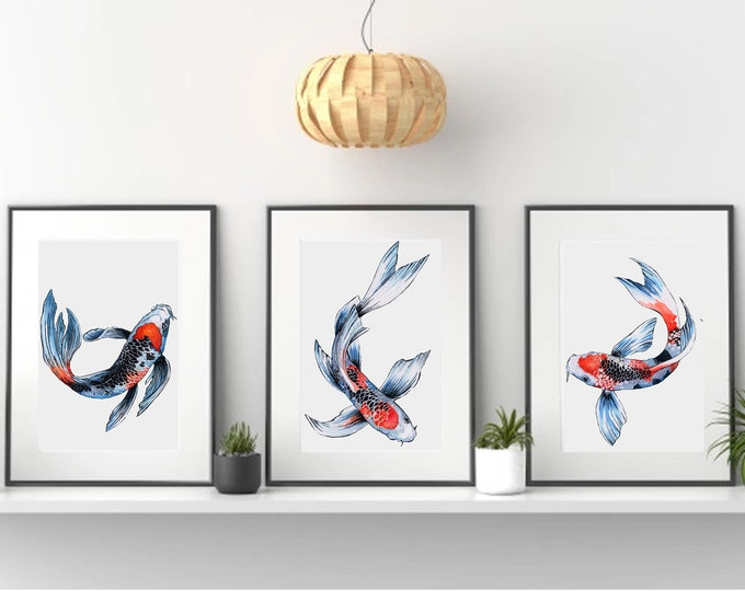 Koi Fish Tryptic watercolor painting print by Andrea Fryett, art, animal, illustration, home decor, Nursery, gift, Wildlife, wall art