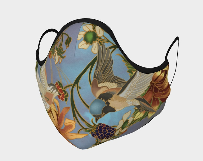 Swallows and Raspberries, fitted, 2 Layer Mask with Filter Pocket and nose wire, meltblown filters available