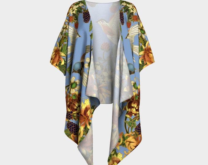 Kimono - Swallows and Raspberries in blue -
