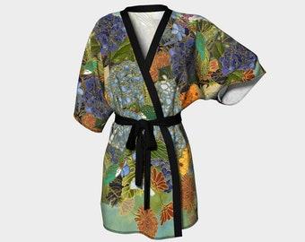 Kimono Robe  - Hydrangeas and Hummingbirds - Spring - bridesmaid robes