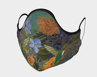 hydrangeas and Hummingbird 2 layer mask with Metal Nose piece and filter pocket.  Made in Canada!