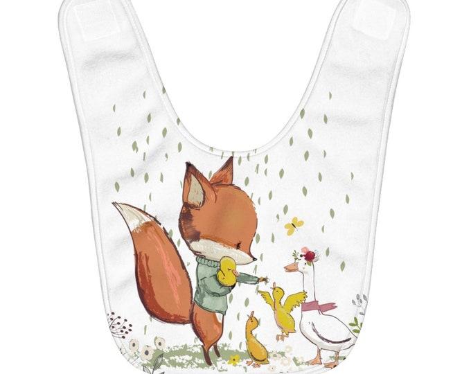 Fleece Baby Bib - Fox And Duckling - Cute Animals - baby clothes