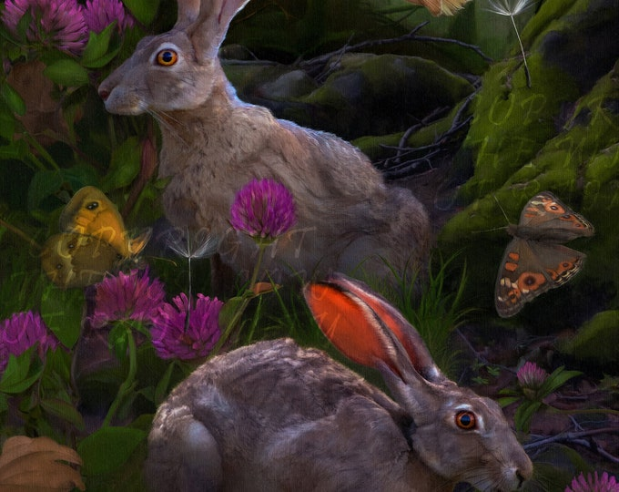 The Hare, Canvas Print, Large Wall Art, Large Poster, Bunnies, Rabbits, Cute Bunny, Butterflies, Butterfly, Nature, Wild life, Fairy tale