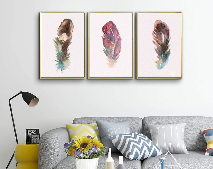 Feather Printable 3 Set ~ Instant Bohemian Wall Art ~ Rustic Home Decor ~ Downloadable watercolor ~ Still Life Minimalist Artworks