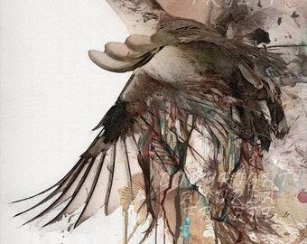 The sparrow takes flight - Canvas Print, Large Wall Art, Painting, Bird, Wild life, nature, song bird,