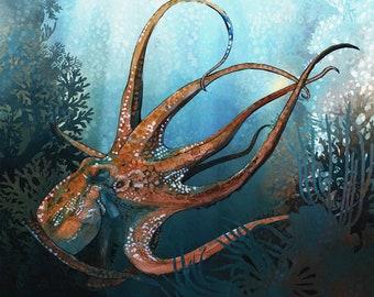 Colourful Octopus watercolor painting print by Andrea Fryett, art, animal, illustration, home decor, Nursery, gift, Wildlife, wall art