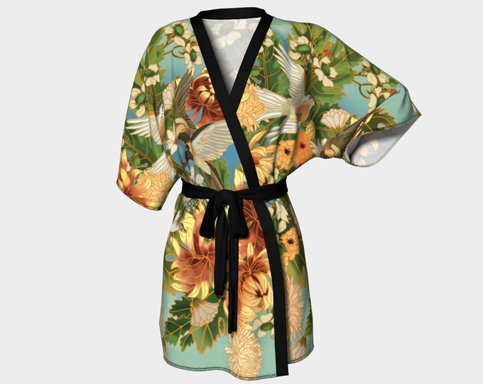 kimono - Swallows and Raspberries in Green - bathing suit coverups - dressing gown - bridal party robes - art nouveau inspired
