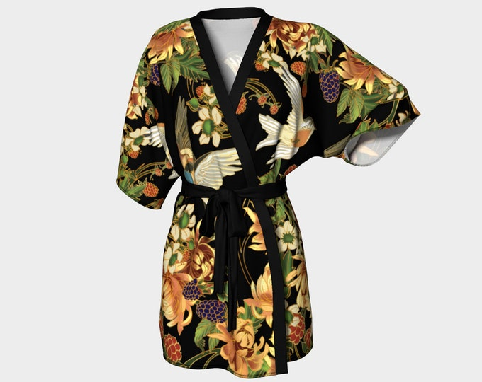 Swallows and Raspberries Kimono in Black - Art Nouveau Inspired - dressing gown - bathing suit coverups