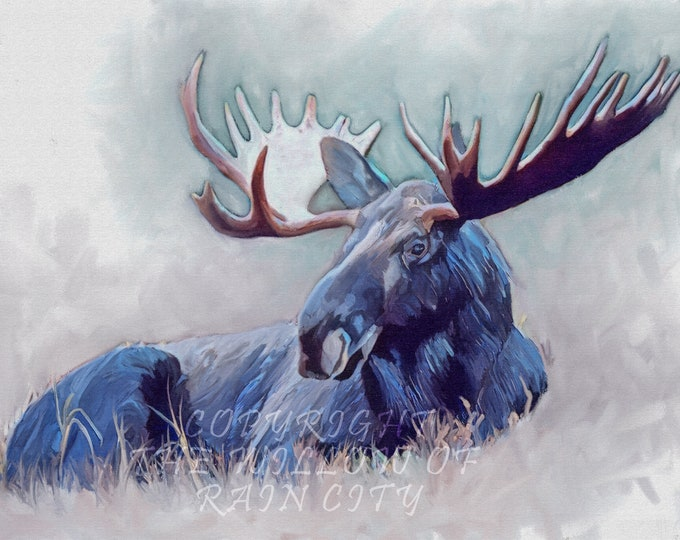 Majestic Canadian Moose, Canvas Print, Wall Art, Painting, Wild Life, Nature, Canadian, Blue, White, Oil Paint, Acrylic Paint,