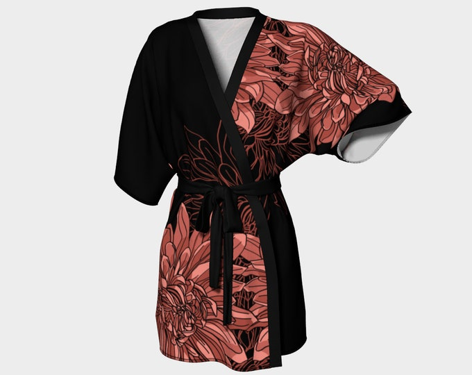 Pink and Black Chrysanthemum Kimono