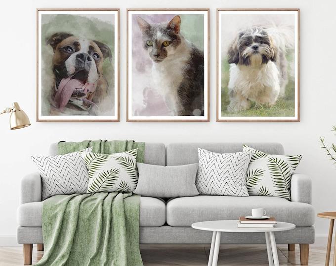 Pet Portrait / Digital Watercolor Pet Portrait / personalized gifts / Pet Portrait From Photo