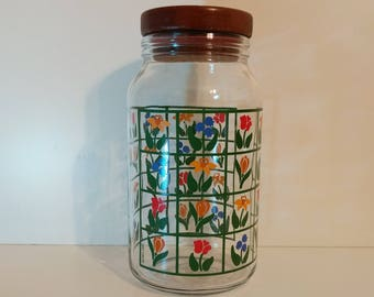 Nina 1983 Anchor Greenhouse Collection Glass Jar Canister with wooden lid