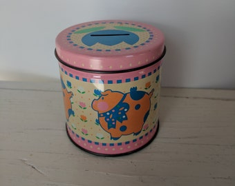 piggy bank vintage tin pig with tulip coin slot
