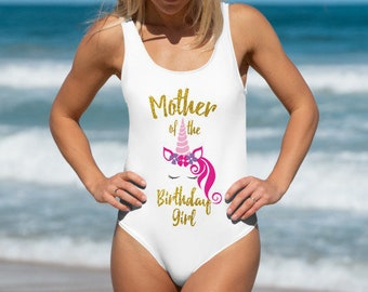 9ff56cfcc76 Mother of the Birthday Girl Bathing Suit Birthday Girl Mom Unicorn Swimsuit  Unicorn Mom Swimwear Unicorn Party One Piece Bathing Suit