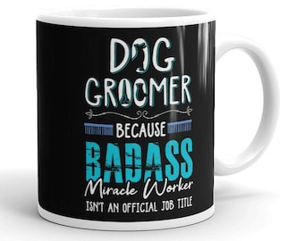 Gift idea work PINK This is what an AWESOME Dog Groomer Looks like SILVER Mug