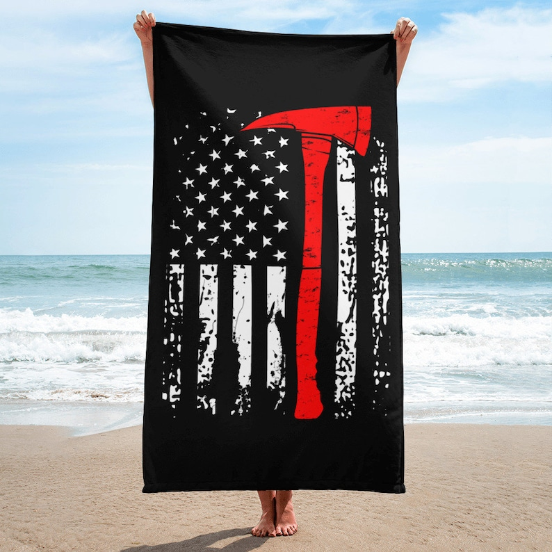"""FIREFIGHTER THIN RED LINE FLAG BEACH TOWEL 30/"""" x 60/"""""""